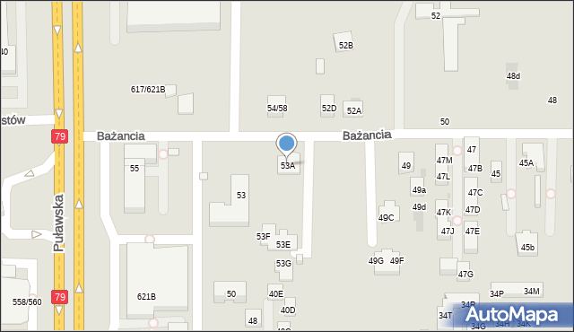 Warszawa, Bażancia, 53A, mapa Warszawy