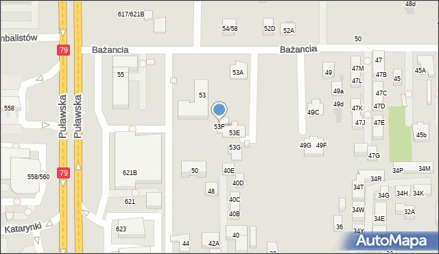 Warszawa, Bażancia, 53F, mapa Warszawy