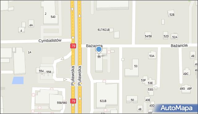 Warszawa, Bażancia, 55, mapa Warszawy