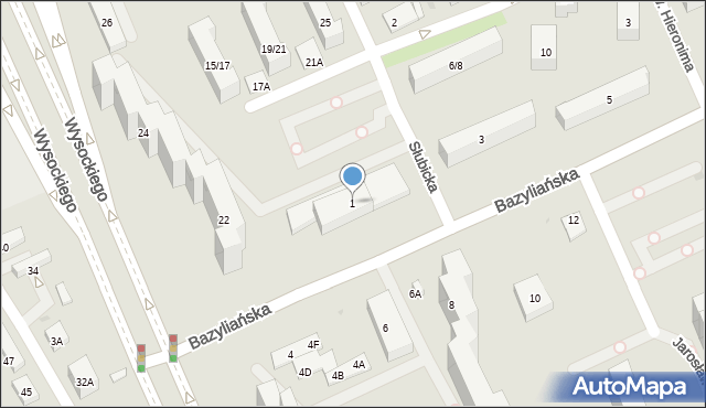 Warszawa, Bazyliańska, 1, mapa Warszawy