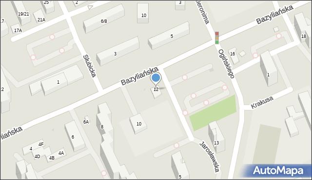 Warszawa, Bazyliańska, 12, mapa Warszawy