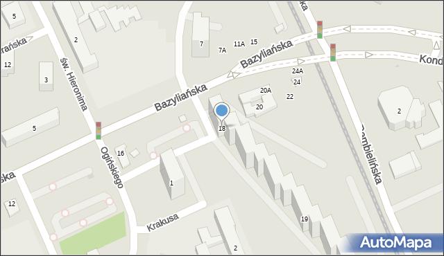 Warszawa, Bazyliańska, 18, mapa Warszawy