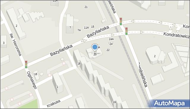 Warszawa, Bazyliańska, 20, mapa Warszawy
