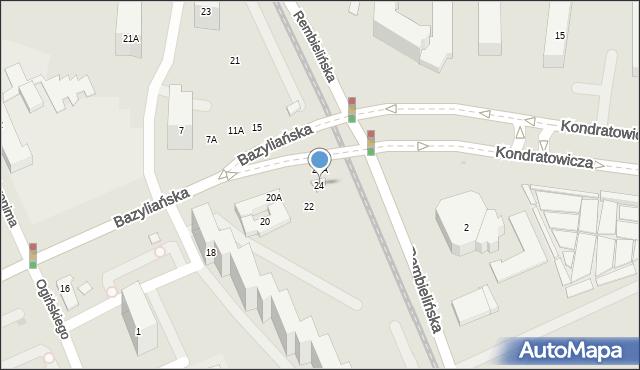 Warszawa, Bazyliańska, 24, mapa Warszawy