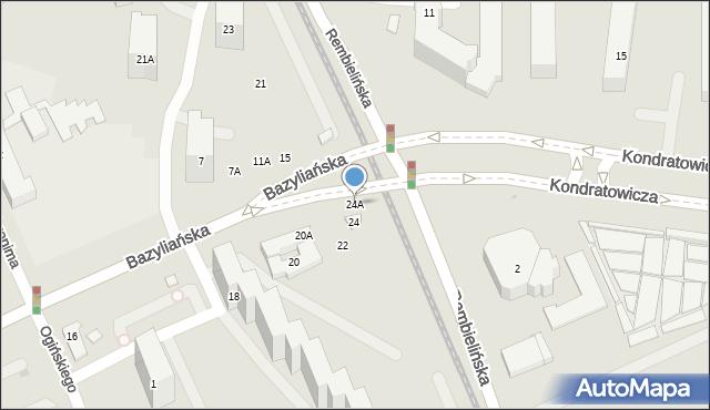 Warszawa, Bazyliańska, 24A, mapa Warszawy