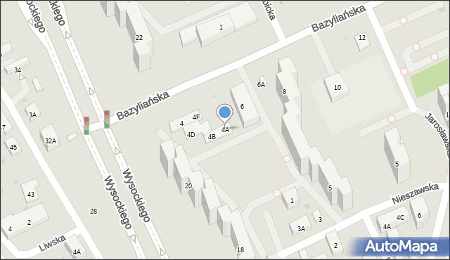 Warszawa, Bazyliańska, 4A, mapa Warszawy