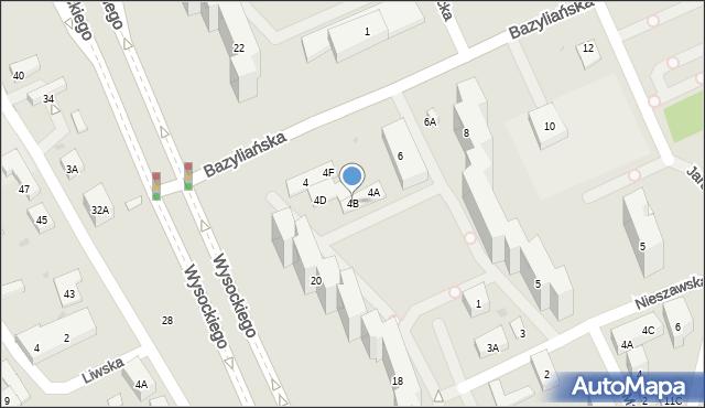 Warszawa, Bazyliańska, 4B, mapa Warszawy