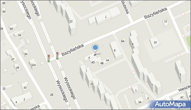 Warszawa, Bazyliańska, 4F, mapa Warszawy