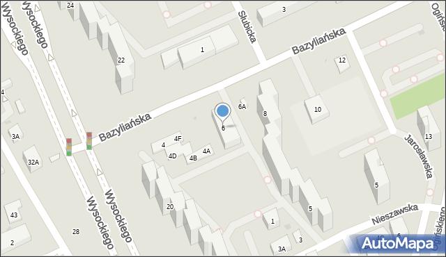 Warszawa, Bazyliańska, 6, mapa Warszawy