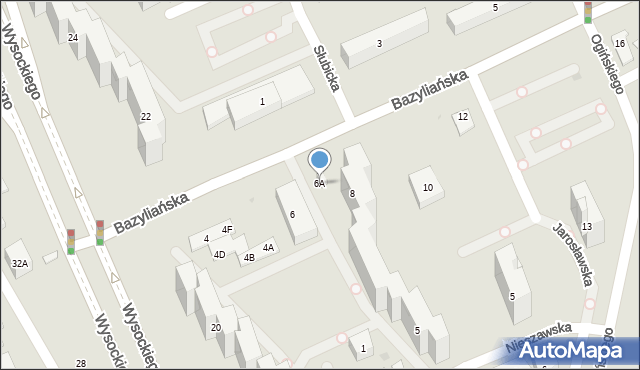 Warszawa, Bazyliańska, 6A, mapa Warszawy