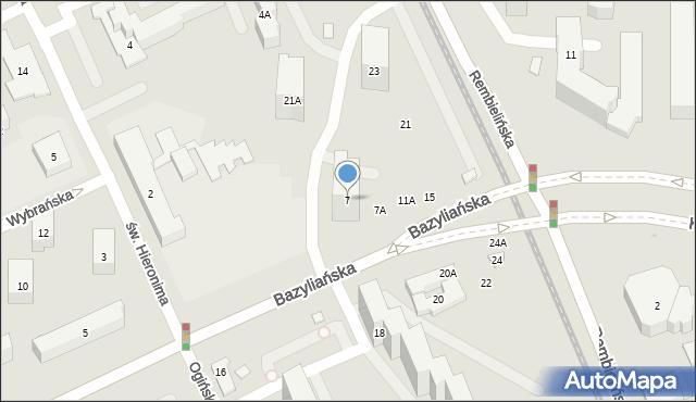 Warszawa, Bazyliańska, 7, mapa Warszawy