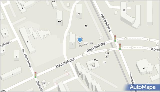 Warszawa, Bazyliańska, 7A, mapa Warszawy