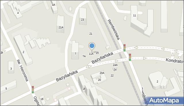 Warszawa, Bazyliańska, 7B, mapa Warszawy