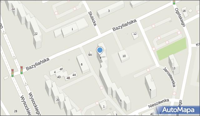 Warszawa, Bazyliańska, 8, mapa Warszawy