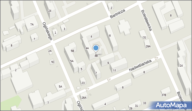 Warszawa, Bartnicza, 4B, mapa Warszawy