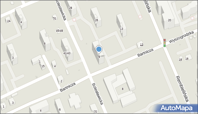 Warszawa, Bartnicza, 9, mapa Warszawy
