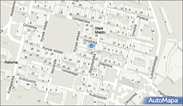 Zamość, Bazyliańska, 26, mapa Zamościa