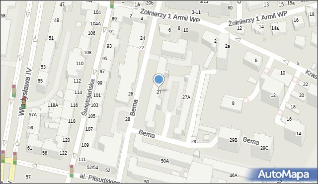 Gdynia, Bema Józefa, gen., 27, mapa Gdyni