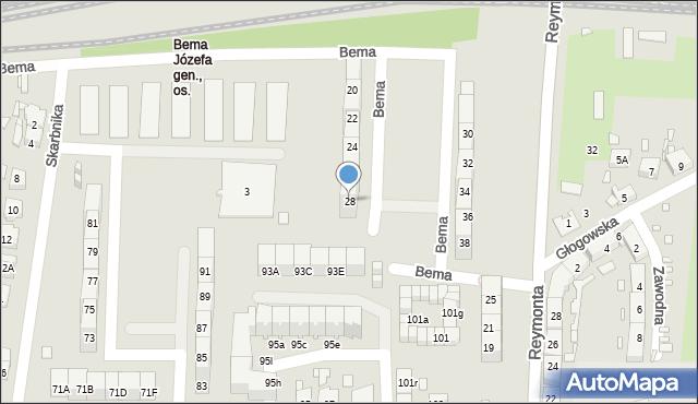Gliwice, Bema Józefa, gen., 28, mapa Gliwic