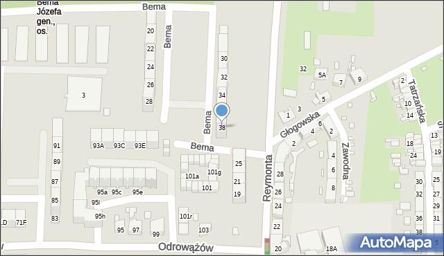 Gliwice, Bema Józefa, gen., 38, mapa Gliwic