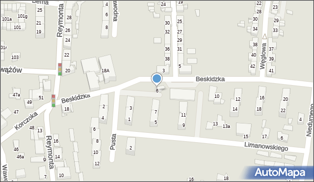 Gliwice, Beskidzka, 6, mapa Gliwic