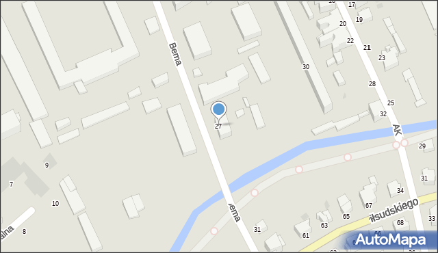 Grudziądz, Bema Józefa, gen., 27, mapa Grudziądza