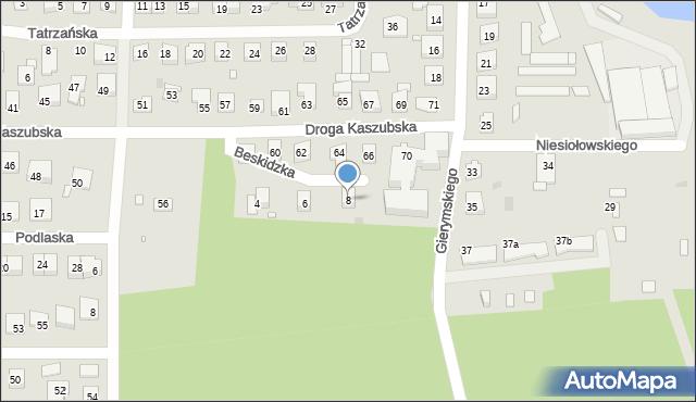 Grudziądz, Beskidzka, 8, mapa Grudziądza