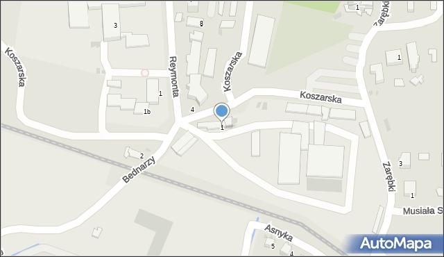 Limanowa, Bednarzy, 1, mapa Limanowa
