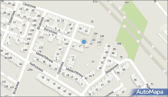 Łódź, Berylowa, 21, mapa Łodzi