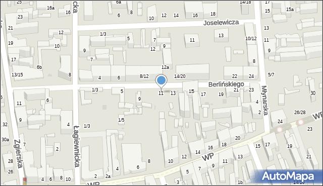 Łódź, Berlińskiego H., 11, mapa Łodzi