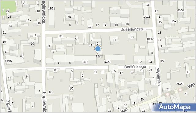 Łódź, Berlińskiego H., 12a, mapa Łodzi