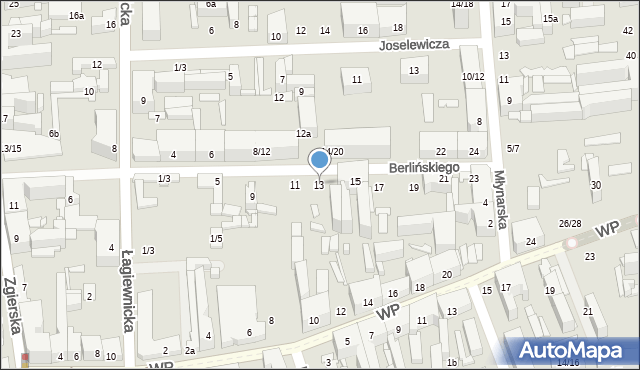 Łódź, Berlińskiego H., 13, mapa Łodzi