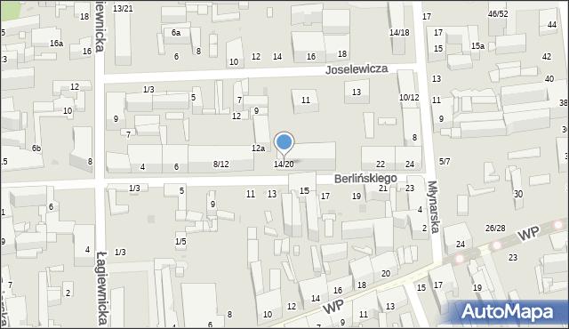 Łódź, Berlińskiego H., 16, mapa Łodzi