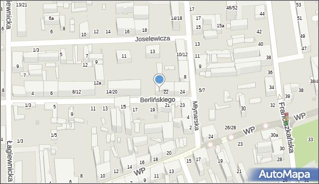 Łódź, Berlińskiego H., 22/24, mapa Łodzi