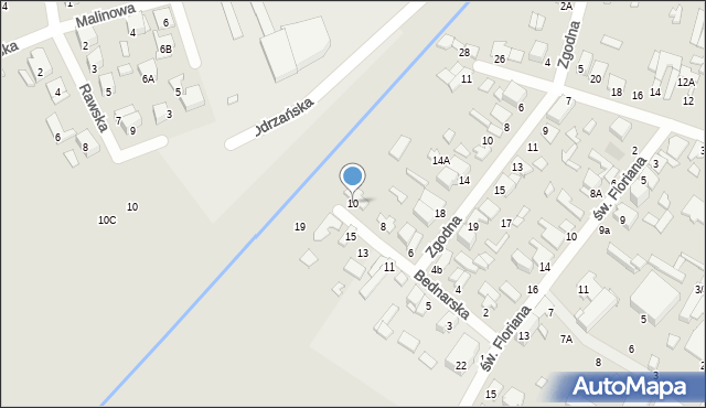 Radom, Bednarska, 10, mapa Radomia