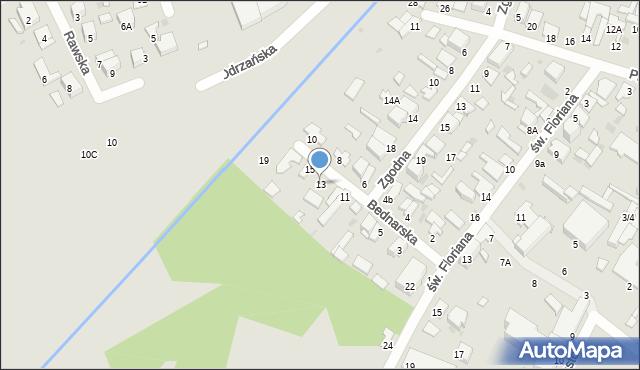 Radom, Bednarska, 13, mapa Radomia