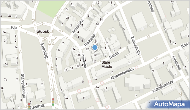 Słupsk, Bema Józefa, gen., 10, mapa Słupska