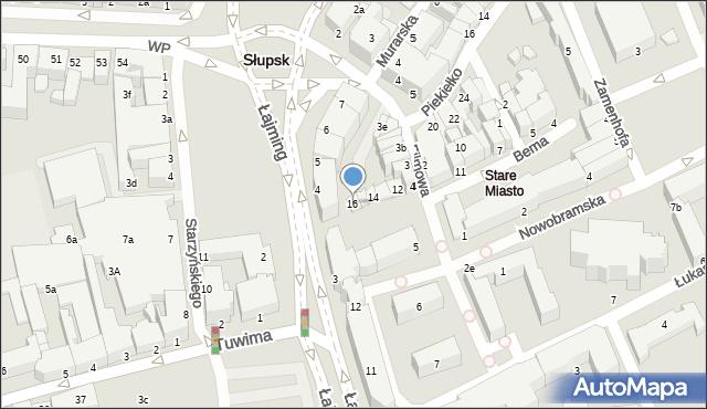 Słupsk, Bema Józefa, gen., 16, mapa Słupska