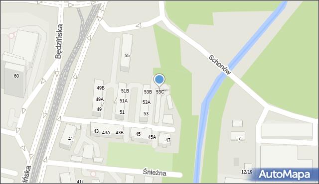 Sosnowiec, Będzińska, 53C, mapa Sosnowca