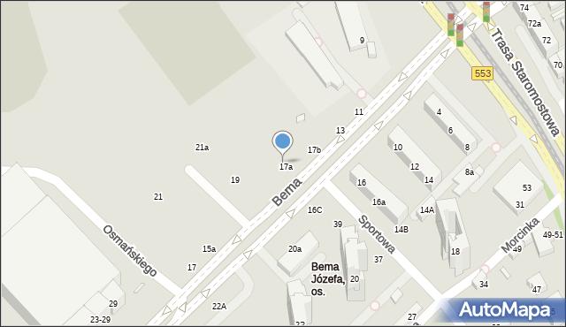Toruń, Bema Józefa, gen., 17d, mapa Torunia