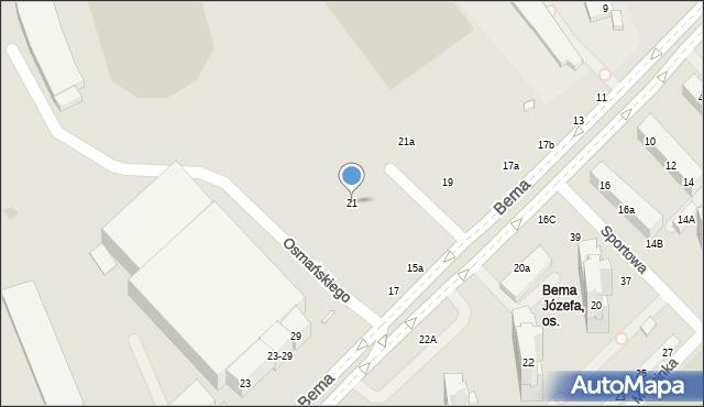 Toruń, Bema Józefa, gen., 21, mapa Torunia