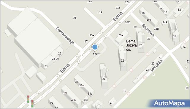 Toruń, Bema Józefa, gen., 22A, mapa Torunia