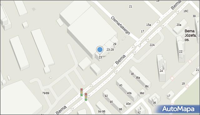 Toruń, Bema Józefa, gen., 23, mapa Torunia