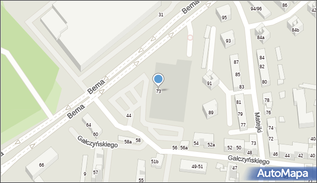 Toruń, Bema Józefa, gen., 73, mapa Torunia