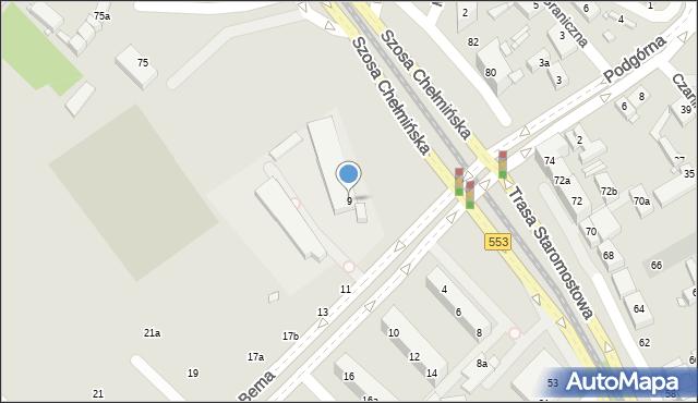 Toruń, Bema Józefa, gen., 9, mapa Torunia