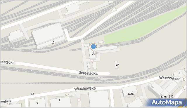 Warszawa, Berestecka, 21, mapa Warszawy