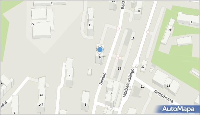 Warszawa, Bełdan, 9, mapa Warszawy