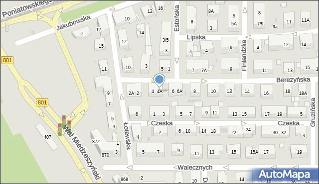 Warszawa, Berezyńska, 4A, mapa Warszawy