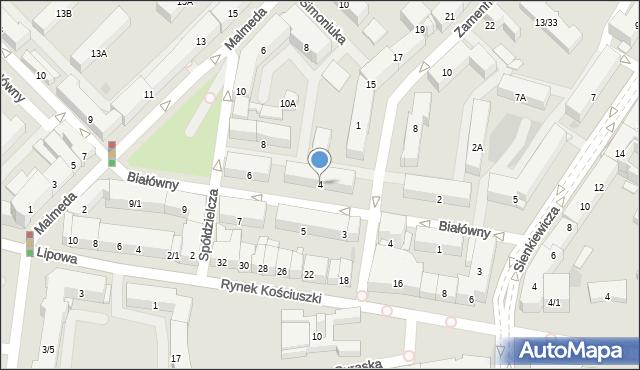 Białystok, Białówny Ireny, dr, 4, mapa Białegostoku