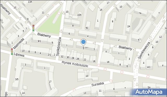 Białystok, Białówny Ireny, dr, 5, mapa Białegostoku
